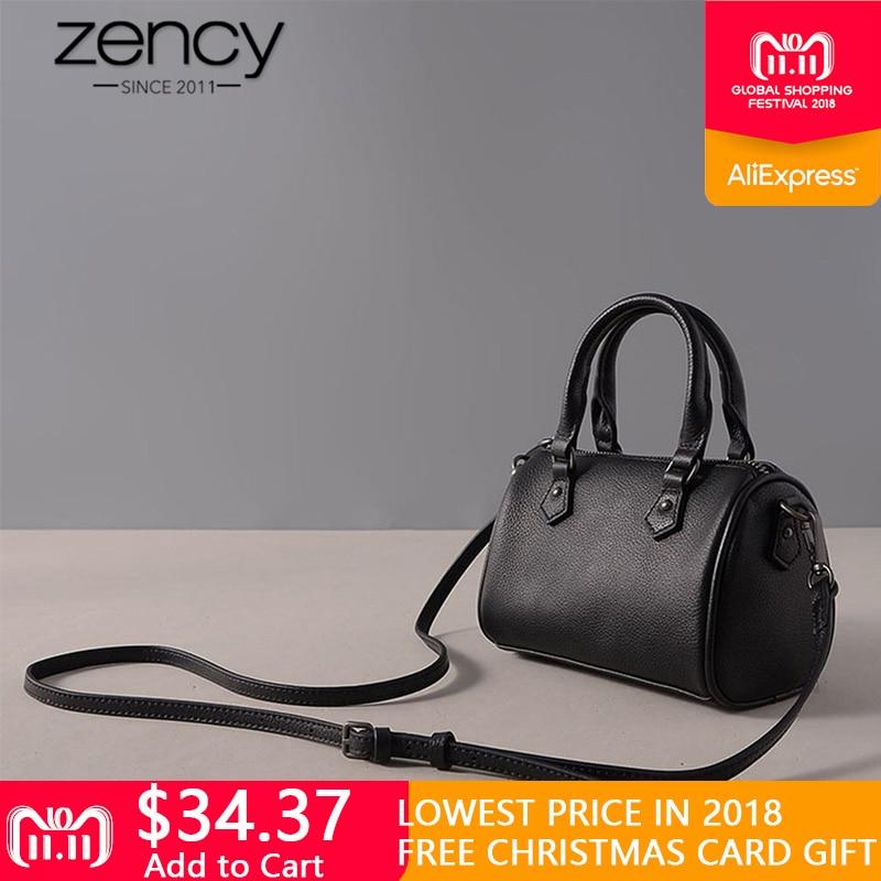 Zency Mini Tote Bag 100% Genuine Leather Italian Designer Classic Boston Women Handbag Ladies Messenger Bag Famous Brand Bolsos