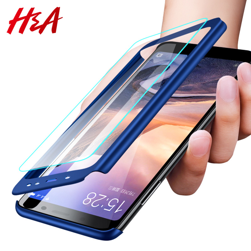 H&A H&A Luxury 360 Degree Full Cover Phone Case For Xiaomi Redmi Note 5 5A Screen Protector Cover 4X 4A Note 5 Plus Case Glass(China)
