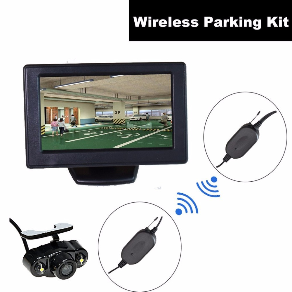 Car Automobile Wireless Backup Camera + 4.3 inch Dash LCD TFT Monitor Reverse Parking Kit Assistance Rear View LED Night Vision 7 car wireless foldable tft lcd monitor with rear view infrared night vision backup camera reverse parking cam for truck bus