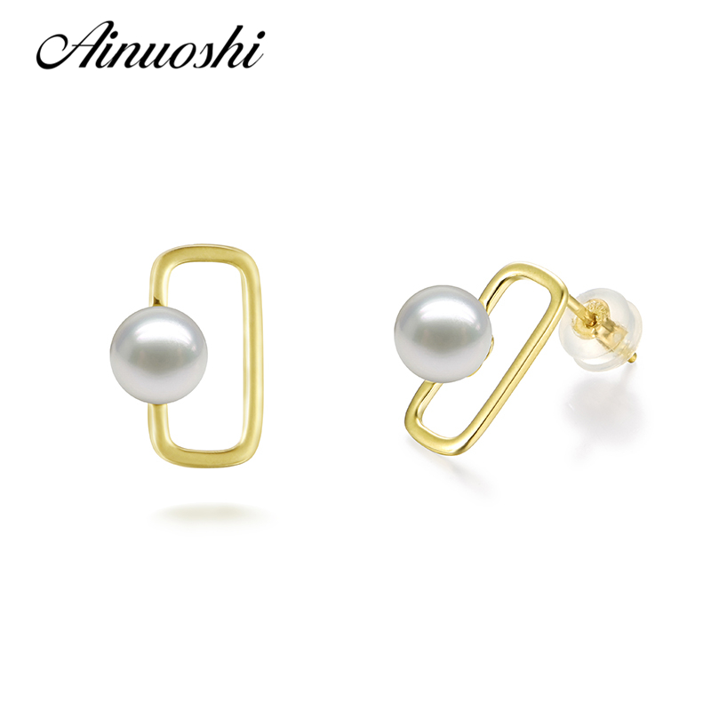 AINUOSHI Luxury 18K Yellow Gold Square Shaped Women Earrings 6-6.5mm Natural Fresh Water Pearl Round Pearl Engagement Earrings faux rammel alloy round square earrings