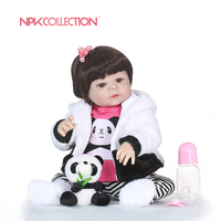 56CM NPK boneca reborn silicone completa Full Vinyl Silicone Reborn Baby Doll Toys Lifelike Child Birthday Xmas Gift bath toy
