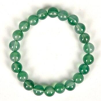 Naturalnie jasny zielony w młodości 8 MM przezroczyste elegancki wygląd Dong ling Jasper bransoletka ręcznie.
