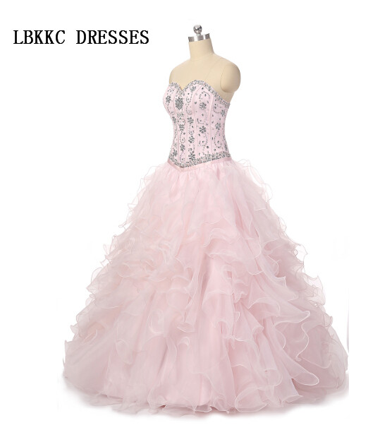Sweetheart Pink Quinceanera Dresses 2 Pieces Ball Gown Organza Beaded Sweet 16 Dresses Ball Gowns Vestidos De 15 Anos image
