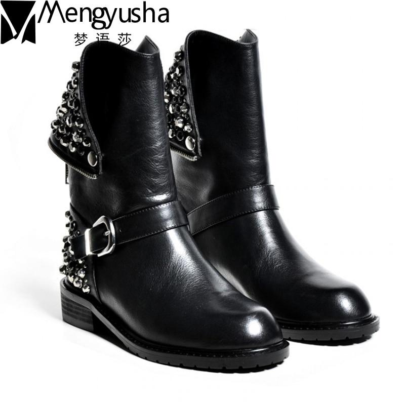 Aukščiausios kokybės natūralios odos batai moterims Ruduo kniedės žiemos blauzdos batai normalūs ir kailiniai motociklų batai batai Moteris Martion Botas