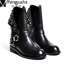 Top Quality Genuine Leather Boots Women Autumn Rivets Winter Ankle Boots Normal & Fur Motorcycle Boots Shoes Woman Martion Botas