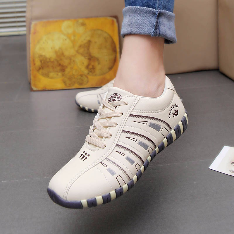 KUYUPP Fashion Breathable Leather Women Casual Shoes Lace Up Woman Trainers Outdoor Women Low Toe Shoes Zapatillas Mujer YD122 (32)