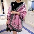 Carro de la moda de color sólido de la cachemira bufanda de mujer de Marca de lujo de ultra larga capa dual femenina otoño chales y bufandas de invierno