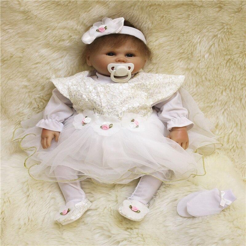 SanyDoll 20 inch 50 cm Silicone baby reborn dolls,White princess skirt beautiful doll birthday gift holiday giftSanyDoll 20 inch 50 cm Silicone baby reborn dolls,White princess skirt beautiful doll birthday gift holiday gift