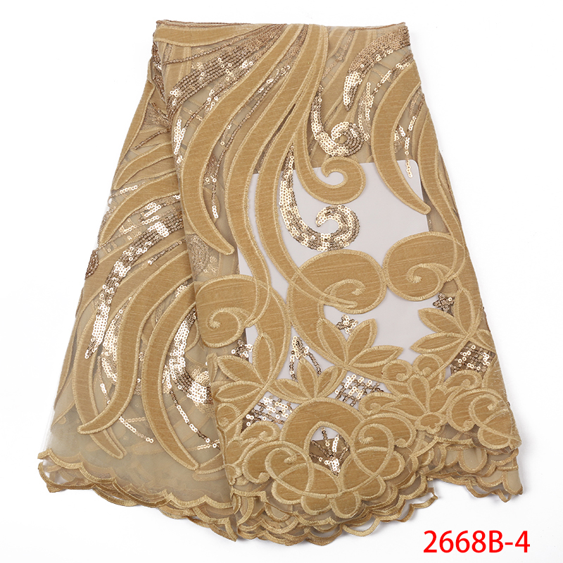 Hot Sale French Lace Fabric Latest Velvet Fabric Laces With Sequins African Lace Fabrics For Women Dresses KS2668B-4