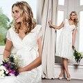 Vestido де noiva Новое Прибытие cap рукавом Кружева Лук пояса кружева свадебное платье для беременных женщин 2016 sexy Короткие невесты платья