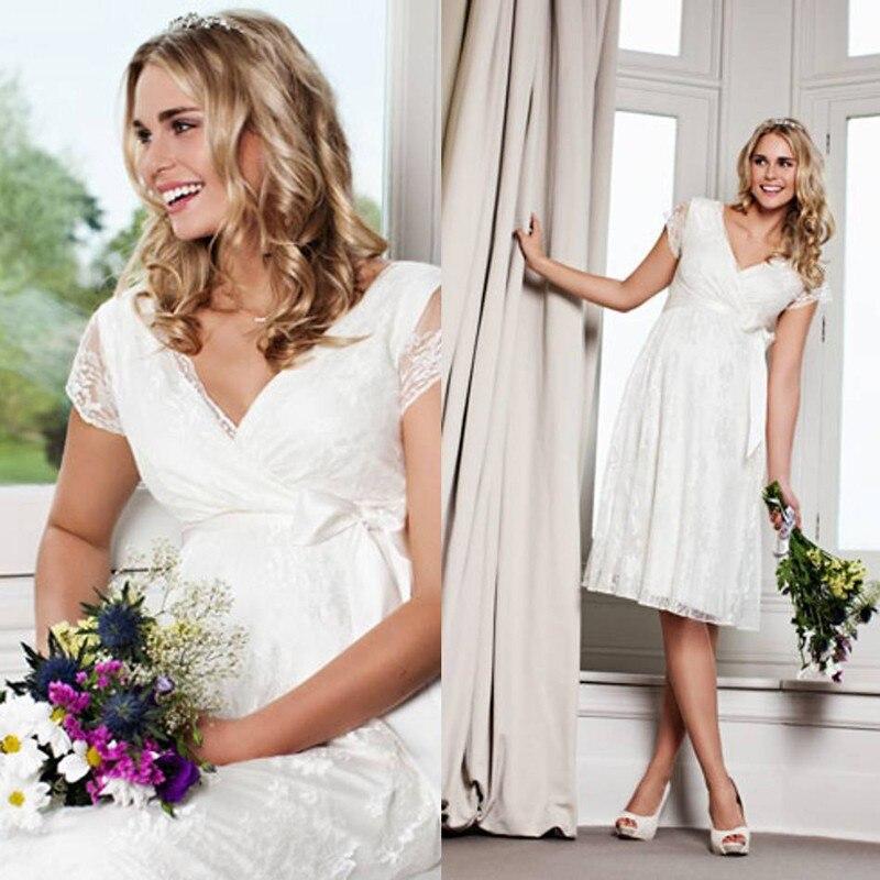 vestido de noiva New Arrival cap sleeve Lace Bow sashes Lace bridal gown for pregnant women 2018 sexy Short   bridesmaid     dresses