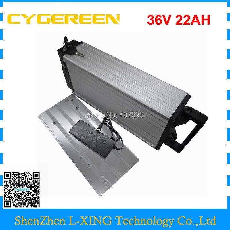 1000W 36V 22AH battery 36V rear rack battery ebike battery li ion 36V 30A BMS with 2A Charger for 36V e bike free shipping