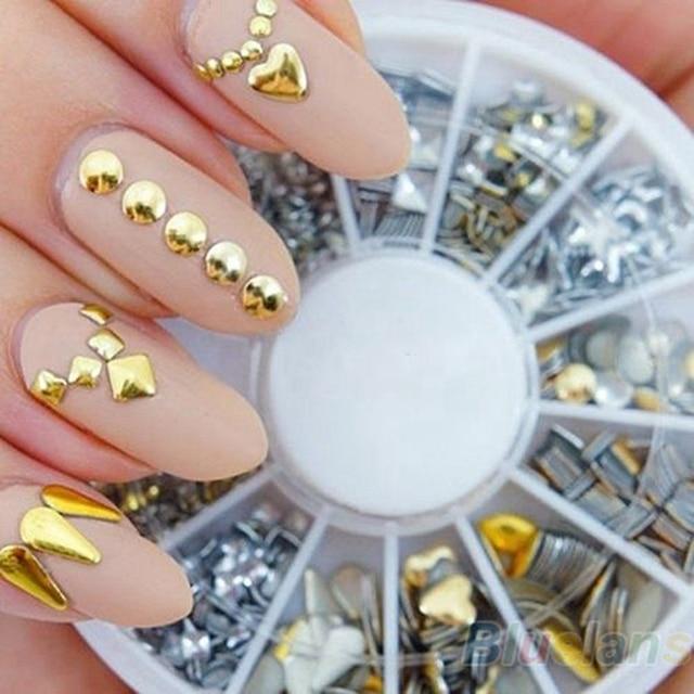 3d Gold Zilveren Kogel Klinknagel Nail Studs Tips Glitter Wiel 3d