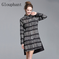 Glouphant 2017 Autumn Cotton Black White Striped Dress Solid Back Side Square Collar Womens Dresses Midi
