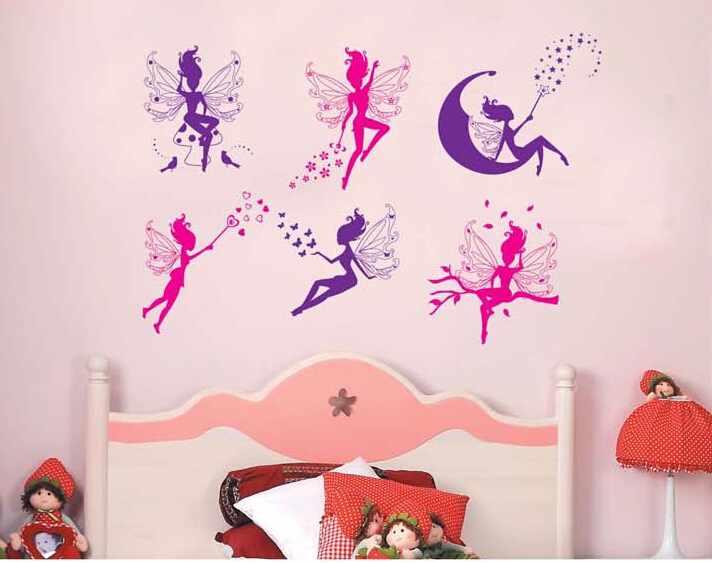 Magical Princess Wall Sticker For Kid Room DIY Vinilos Infantiles Decorativos Cute PVC Sticker Home Decor