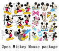 2pcs A4 Size Mickey Mouse Skateboard Snowboard Luggage Car Bike Vinyl Stickers 148-220
