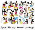 2pcs A4 Size Mickey Mouse Skateboard Snowboard Luggage Car Bike Vinyl Stickers 148-220