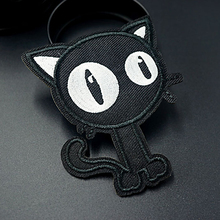 Pulaqi Punk Cat Dead God Patches Embroidery Iron On For Clothing  Black Skull stripes Patch Cloths Stickers Applique