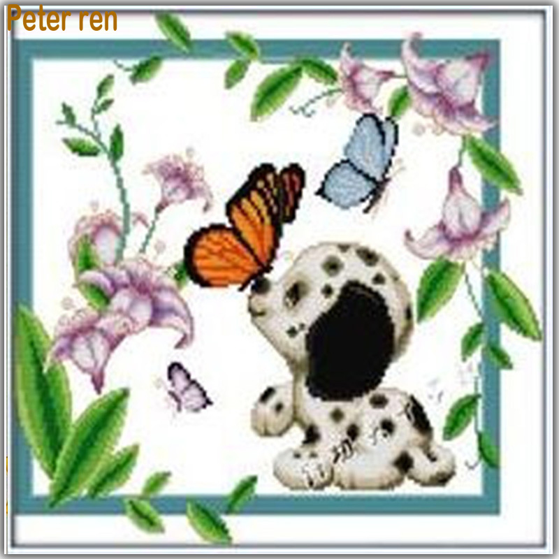 DIY Diamond Painting Butterfly 100 Full embroidery dog Square Rhinestones mosaic Needlework Flowers violet Pictures by numbers in Diamond Painting Cross Stitch from Home Garden