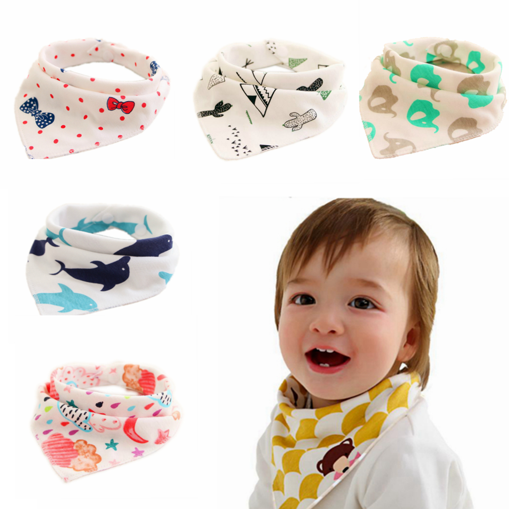 5Pcs Baby Bibs Children Cotton Triangle Head Scarf Bandana Dribble Bibs WHTYDE