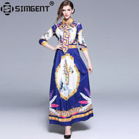 Simgent High Street Women Fashion Turn Down Collar Bow Tie Elegant Maxi Long Printed Dresses Vestidos Robe Femme Jurken SG812074