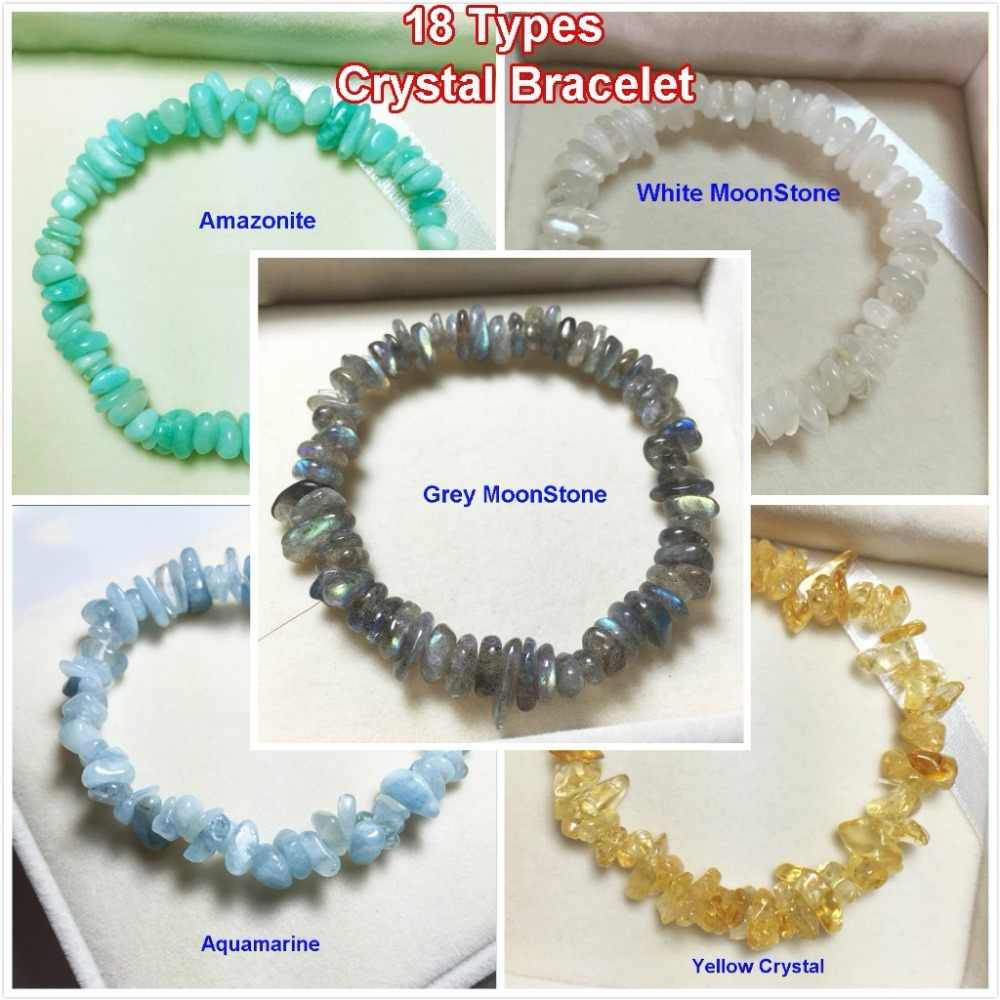 Healing Crystals Stone Strand Beads Bracelet Natural Quartz Chips 7 Chakra Women Bracelets Fashion Energy Jewelry Handmade Gems