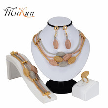 MUKUN 2019Wholesale New Wheat Charm Fashion African Turkish Women Jewelry Bride Wedding Necklace Earrings Gold Sets Gift