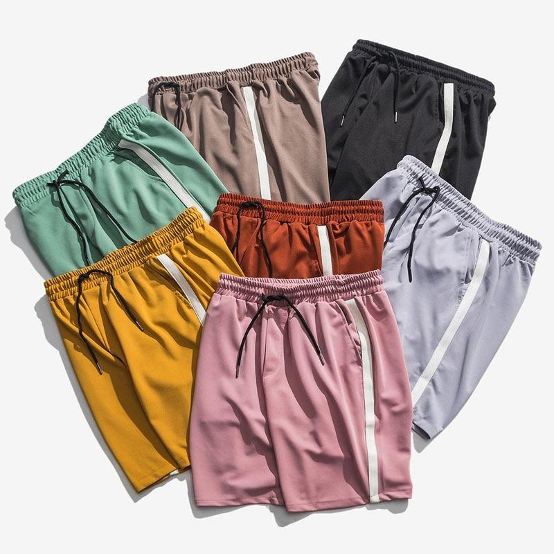 Korean Fashion Shorts Men Casual Side Striped Short Joggers Streetwear Elastic Waist Pink Black Track Short Summer Bottoms
