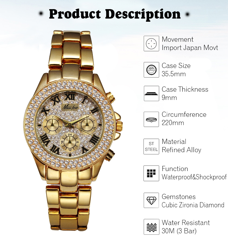 MISSFOX Women Watces Luxury Watch Women Fashion 18 Relogio Feminino Chronograph Roman Gold Ladies Watches Quartz Wristwatches 8