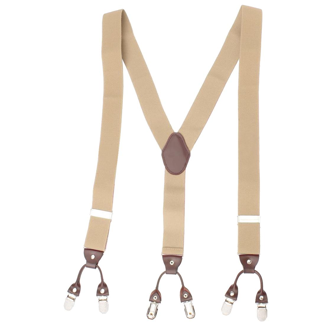 Men Trouser Suspender Adjustable Y-Shape Elastic Braces Buckle Color:khaki