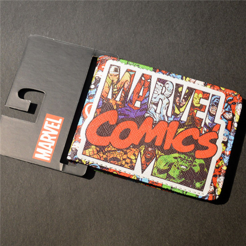 New Comics Dc Marvel Slim Wallet the Avengers Hulk Iron Man Captain America Purse Logo Credit Oyster License Card Wallet dc marvel comics wallets cartoon anime iron man spiderman captain america hulk creative gift purse kids folder short wallet