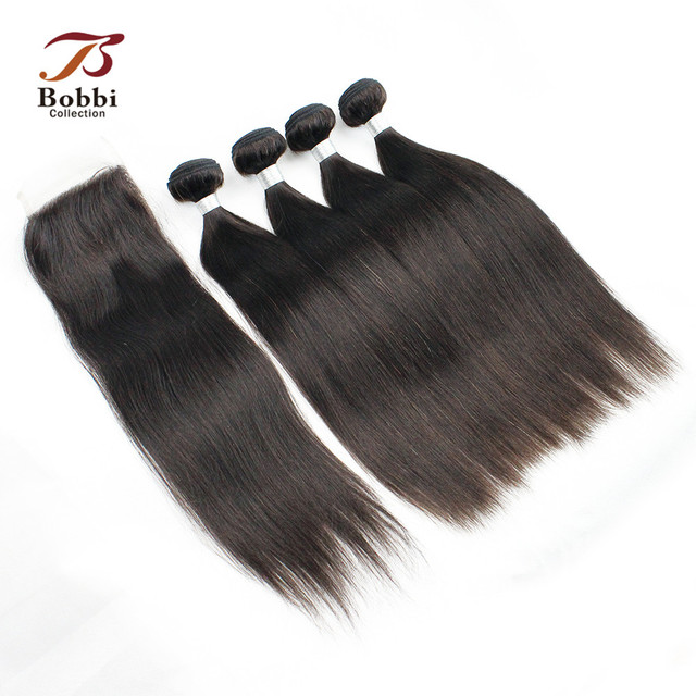 Bobbi Collection 34 Bundles With Lace Closure Malaysian Straight