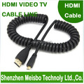High density speed Retractable spring wire Gold Plated plug flat HD connector monitor 1.4V 3D Micro HDMI to HDMI cable