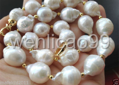 цена Selling Jewelry>>>Beautiful 13-18mm white baroque keshi reborn Freshwater pearl necklace 18