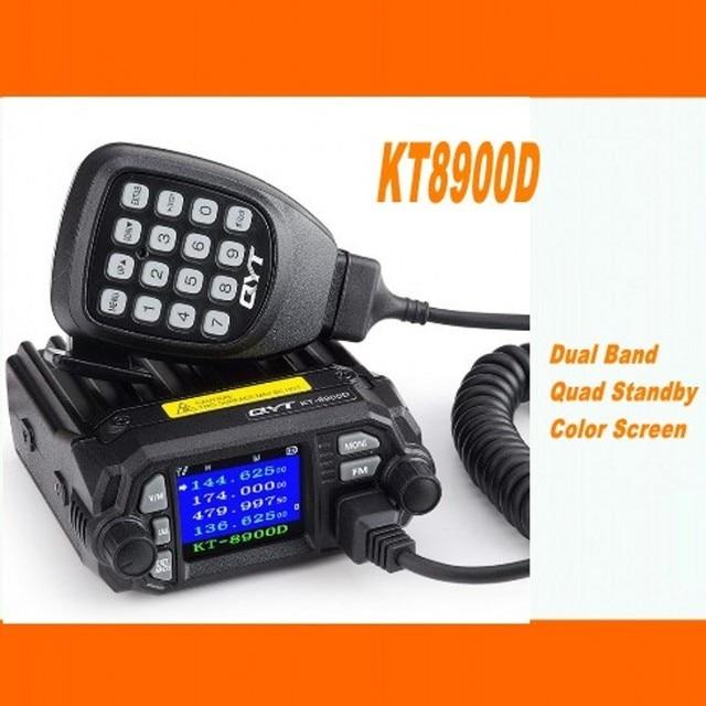 QYT KT 8900Dโทรศัพท์มือถือวิทยุVHF UHF 25W 4 StandyมือถือวิทยุMIC + สายการเขียนโปรแกรมUSB