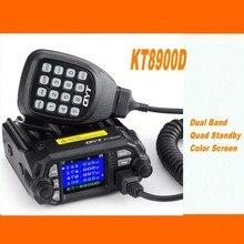 QYT KT 8900D mobil araba radyo VHF UHF 25W 4 Standy mobil radyolar mikrofon + USB programlama kablosu