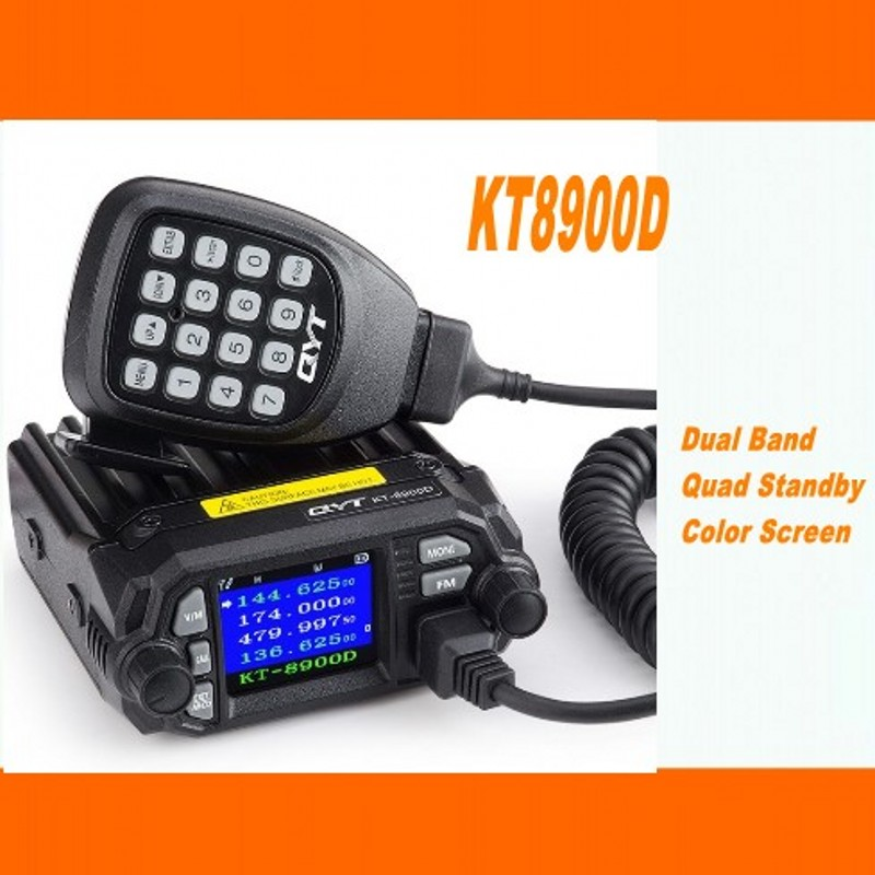 QYT KT 8900D mobile car radio VHF UHF 25W 4 Standy Mobile Radios MIC+USB Programming Cable-in Walkie Talkie from Cellphones & Telecommunications