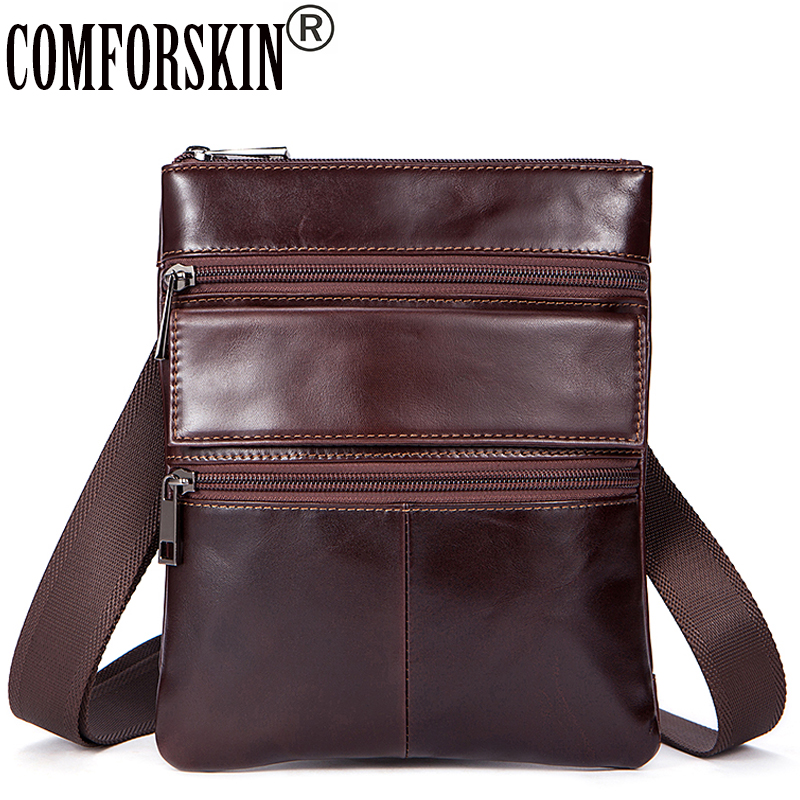 COMFORSKIN Brand Genuine Leather Guaranteed 100% Men Bag 2018 New Arrivals Messenger Bags Hot Bolsa Masculina