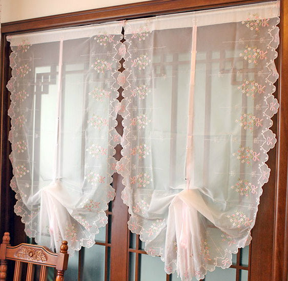 Free Shipping Pink Bow Bay Window Yarn Balloon Curtain