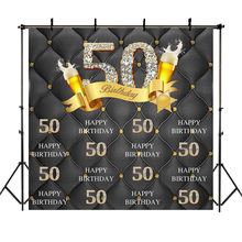 NeoBack 30th 40th 50th 60th 70th Birthday Backdrop Wine Glass Decorate Golden Diamond Background Custom Name Age Photo Backdrop(China)