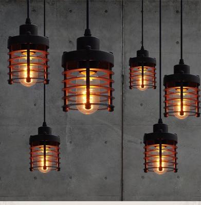 European style single head iron bar restaurant creative retro bedroom stairs American Industrial Circle Pendant light|pendant lights|circle pendant light|american industrial - title=