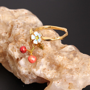 Image 2 - New Arrivals Be Listed Enamel Glaze Small Fresh Flower Cherry Fall Gold Ring Jewelry For Women Gift