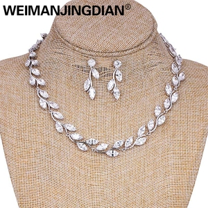 Image 2 - WEIMANJINGDIAN Elegant Marquise Cut Cubic Zirconia CZ Crystal Wedding Jewelry Set for Women