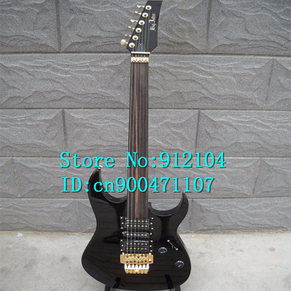 new Big John double wave fretless electric guitar in black with basswood body    F-282