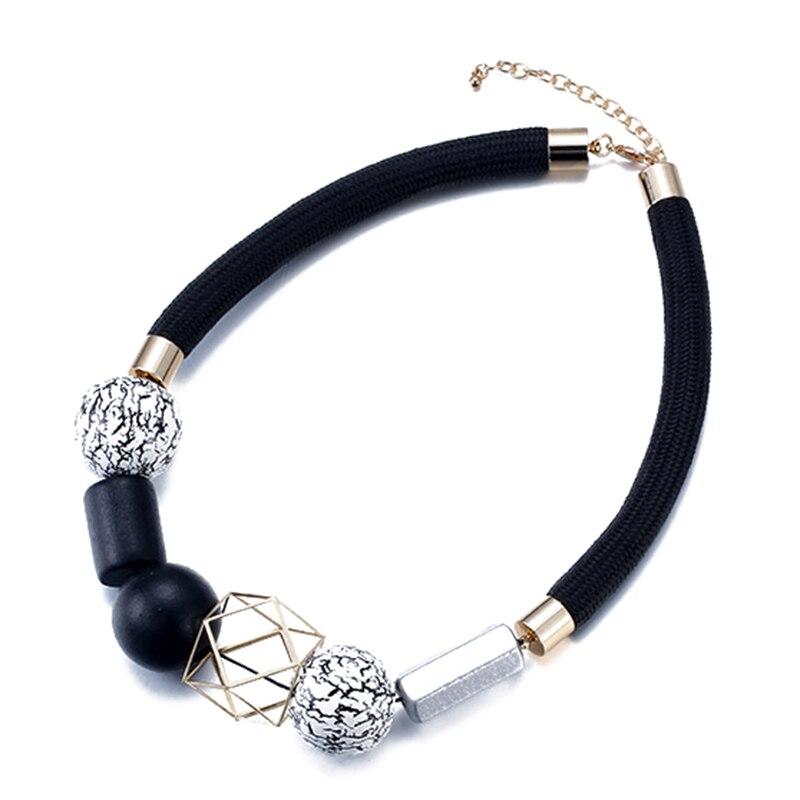 Этнические богемные Веревка ожерелье для женщин геометрический Винтаж колье Смола дерева бусы и кулон ювелирные изделия