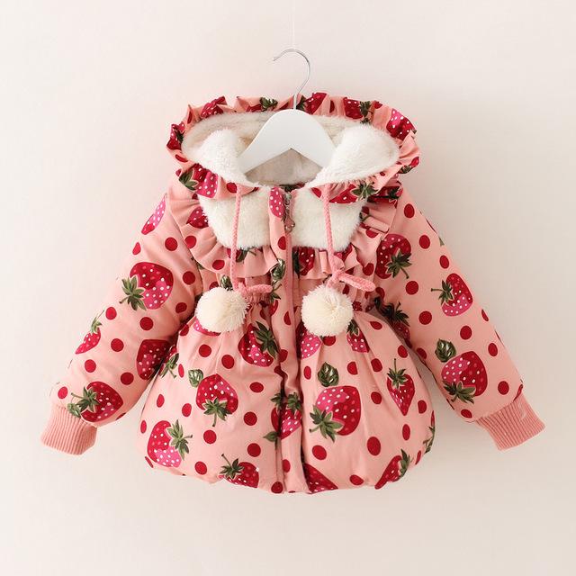2015 Moda Outono Inverno Do Bebê Meninas Morango casaco crianças roupas de inverno bebê jaqueta de neve desgaste
