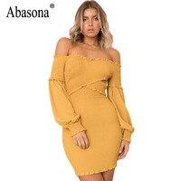 Abasona Women Dresses Lantern Sleeve Off The Shoulder Autumn Dress Criss Cross Pleated Evening Party Bodycon
