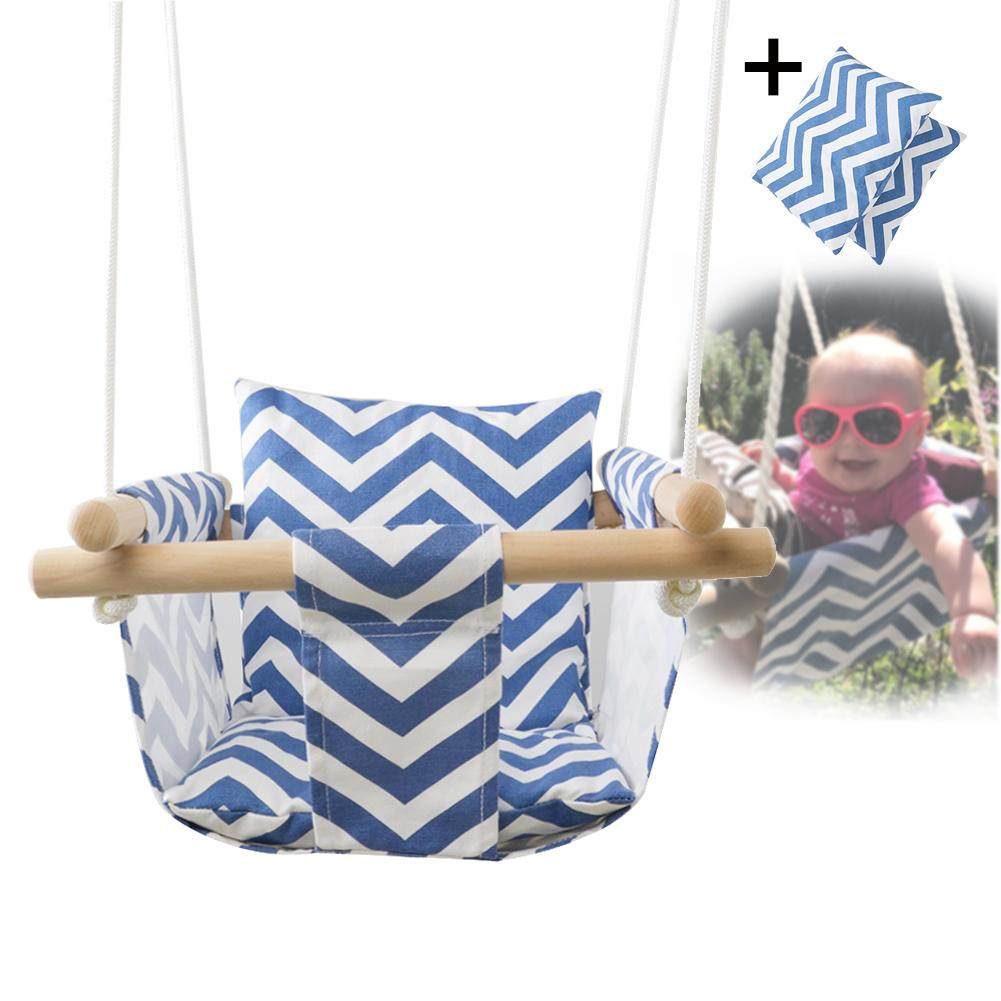 Seguridad de jardín de lona del bebé del columpio silla de madera interior pequeño colgando cesta silla mecedora con cojín