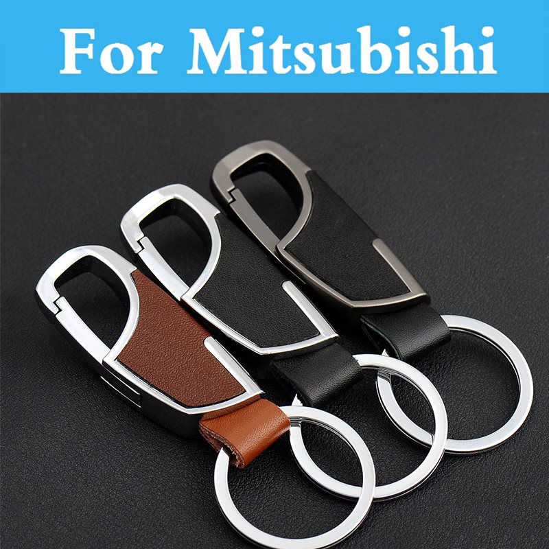 Leather Car Remote Key Holder Case Cover Key Chain For Mitsubishi Galant i i-MiEV Lancer Lancer Cargo Evolution Ralliart Minica
