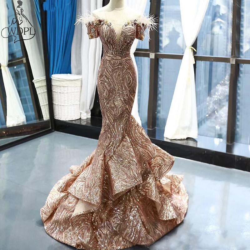 Amazing Gold Mermaid Prom Dresses 2019 Luxury Sequined Feathers Evening Dress Short Sleeves Ruffles Train Formal Party Gowns(China)